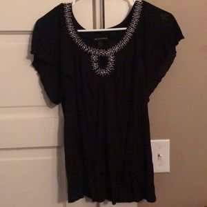 I.N.  Studio Black shirt with embellished front